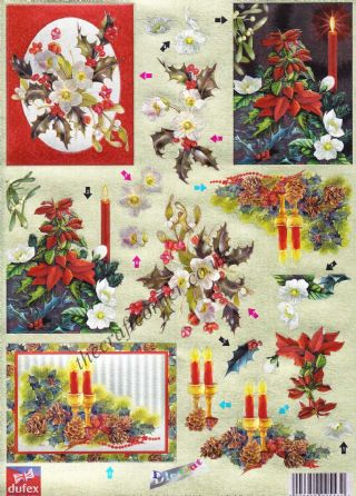 Christmas Candles & Flowers Dufex 3d Decoupage Die Cut Sheet